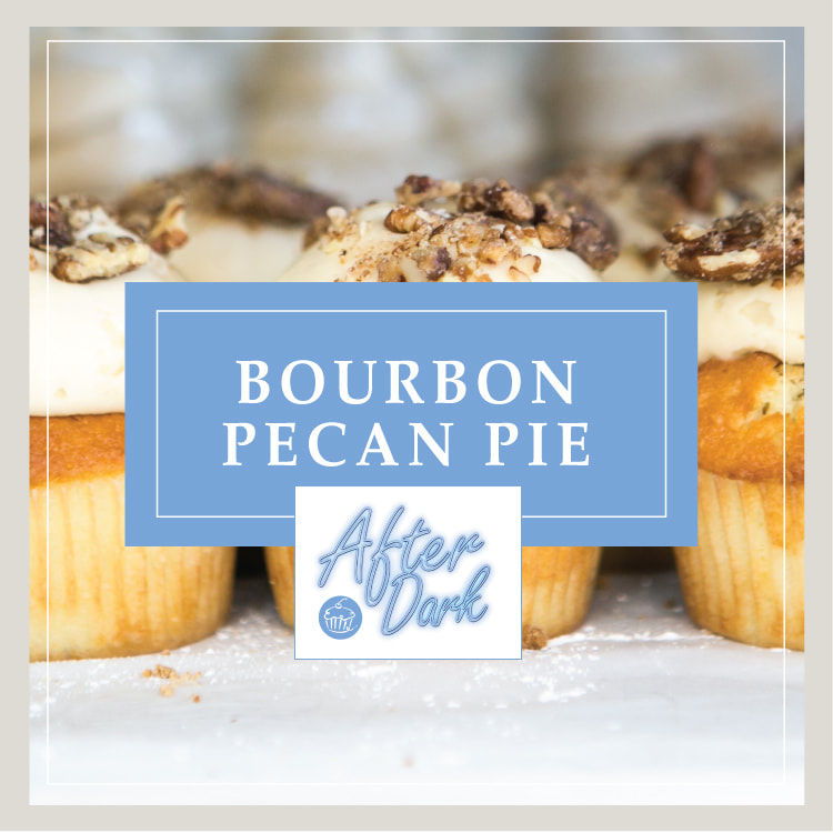 The Bourbon Pecan Pie cupcake at Cupcake DownSouth in Charleston SC and Columbia SC - one of its signature line of After Dark alcohol-infused cupcakes