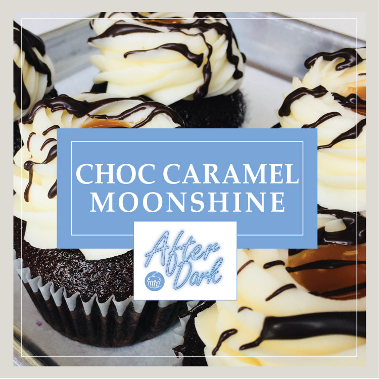 The Chocolate Caramel Moonshine cupcake at Cupcake DownSouth in Charleston SC and Columbia SC - one of its signature line of After Dark alcohol-infused cupcakes