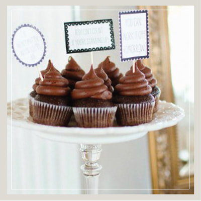 Wedding cupcakes in delicious chocolate from Cupcake DownSouth in Charleston SC and Columbia SC