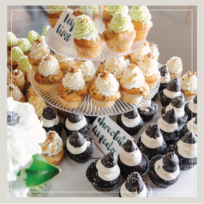 Tiers of wedding cupcakes in the Key Lime, Praline, and Chocolate Tuxedo flavors from Cupcake DownSouth in Charleston SC and Columbia SC