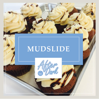 The Mudslide cupcake at Cupcake DownSouth in Charleston SC and Columbia SC - one of its signature line of After Dark alcohol-infused cupcakes