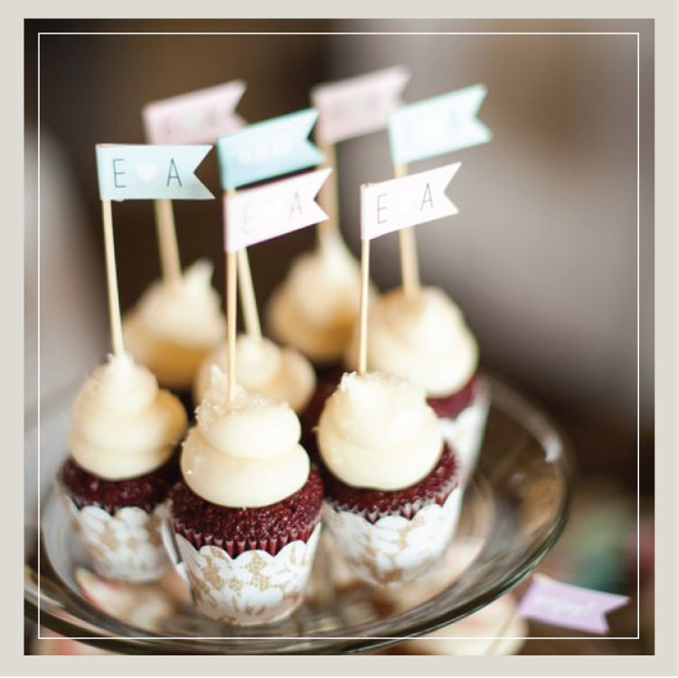 Southern Red Velvet Mini Wedding Cupcakes With The Bride And Groom S Initials From Cupcake Downsouth In