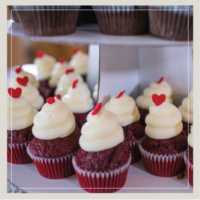 Tiers of Southern Red Velvet wedding cupcakes from Cupcake DownSouth in Charleston SC and Columbia SC
