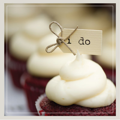 Mini wedding cupcakes in the Southern Red Velvet flavor from Cupcake DownSouth in Charleston SC and Columbia SC