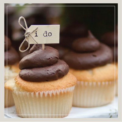 """I Do"" wedding cupcakes in vanilla and chocolate from Cupcake DownSouth in Charleston SC and Columbia SC"