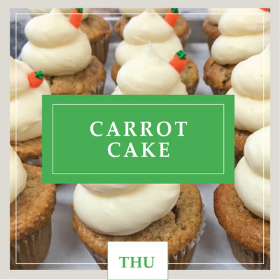 A Vegan Carrot Cake carrot cupcake at Cupcake DownSouth, a dessert bakery in Charleston, SC and Columbia, SC
