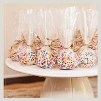 Elegant white wedding cake pops from Cupcake DownSouth in Charleston SC and Columbia SC